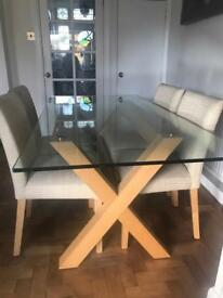 Marks & Spencer Cross Dining Table and 4 Chairs.