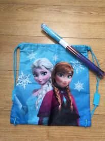 Frozen drawstring bag and poster