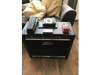 Peavey bandit 112 100w amp , pedals and guitar