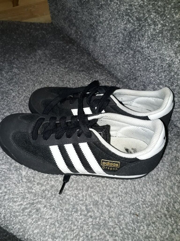 Black and white size 4 and half adidas trainers