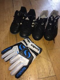 Size 11 boys football boots, Astro trainers and goalie gloves