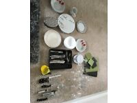 Mixed kitchen utensils and crockery