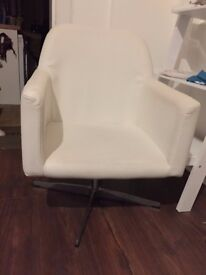 White Faux Leather Armchair with Chrome Base