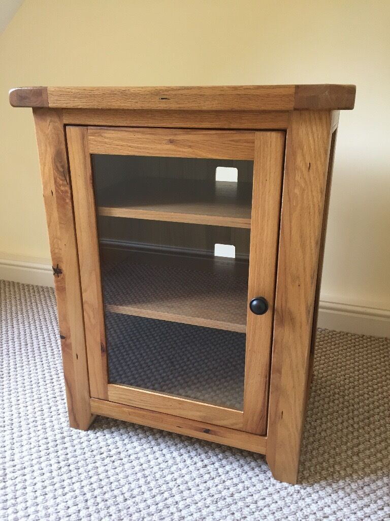Solid Oak Hi Fi Unit With Glass Door As New In Blidworth