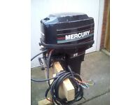 Mercury 25 hp long shaft outboard engine. Electric and manual start 2 stroke with electrical cables.