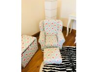 Beautiful bespoke child's armchair, footstool & toy chest