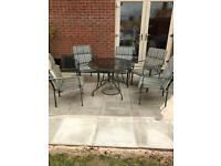 Metal Grey Patio Set Table and 5 chairs plus 1 extra seat pad