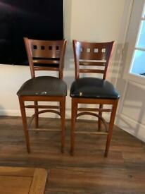 2 x solid wood bar stools