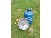 Calor gas Butane heater and bottle