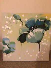 Canvas with blue/green real flower design