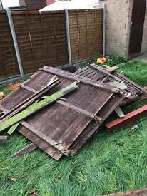 Free fence panels and posts for burning