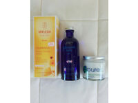 Baby toiletries bundle - Weleda & Pure Stuff nappy creams & Johnson's oil