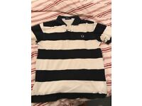 Men's Fred perry strippy black and white t shirt