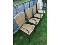 Dining table and 4 Rattan chairs