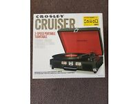 *BRAND NEW & BOXED* Crosley CR8005A-BK Cruiser Portable 3-Speed Turntable, Black