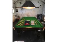 Slate bed 3/4 snooker table, premium balls, also pool balls, cues rests and lights