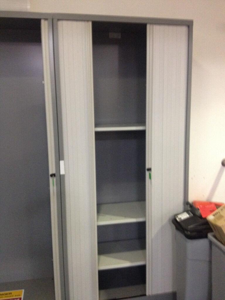 2 meter high tambour cupboard with 4 shelves in bradford. Black Bedroom Furniture Sets. Home Design Ideas