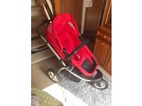 Mothercare MY3 red three wheel pram/pushchair