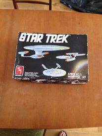 amt Star Trek 1/2500 model kit, 3 piece U.S.S. Enterprise Set, original box, instructions & glue