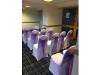 Chair covers 50 p sashes bows 50 p set up free weddings communions birthdays ect stunning