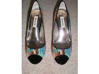 Dune Multi Colour Peep Toe Court Shoe - Size 4 UK/ 37 EU