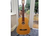 Nylon strung acoustic guitar.