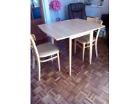 Kitchen table drop side table with 2 chairs table 3ft.when open 30ins.wide