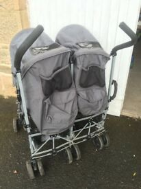 Maclaren double buggy with rain cover