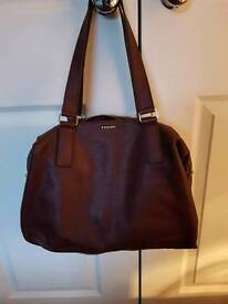 Fossil Espresso Leather Shoulder Bag