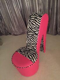Stiletto vibrant Pink Zebra print Chair