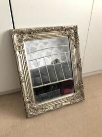 French Ornate Shabby Chic Mirror Silver