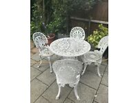 Garden table and chairs metal cast iron