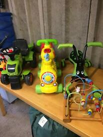 Toy bundle. Scrabblebug, Alphabet train, tractor and trailer, etc