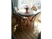 WICKER CONSERVATORY SET OF FOUR CHAIRS AND TABLE