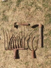garden tools vintage used as ornaments or decoration