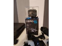 GoPro Hero 5 Black with extra batteries, charger and tonnes of accessories