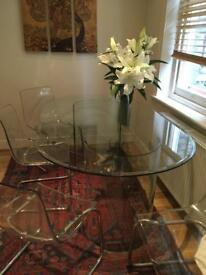 Contemporary Oval Glass Table