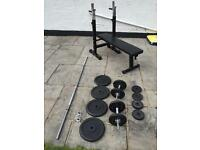Weights set, bench, weights and solid bars