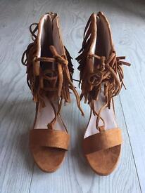 Brand New Tan Tassel Heels