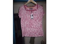 Ladies Size 16 Maine Pink/White Top with Original Tag