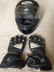 MOTORCYCLE CRASH HELMET by NITRO AND PAIR OF BUFFALO GLOVES