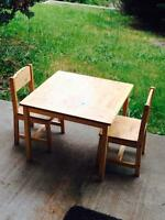 Toddler wooden table & chairs