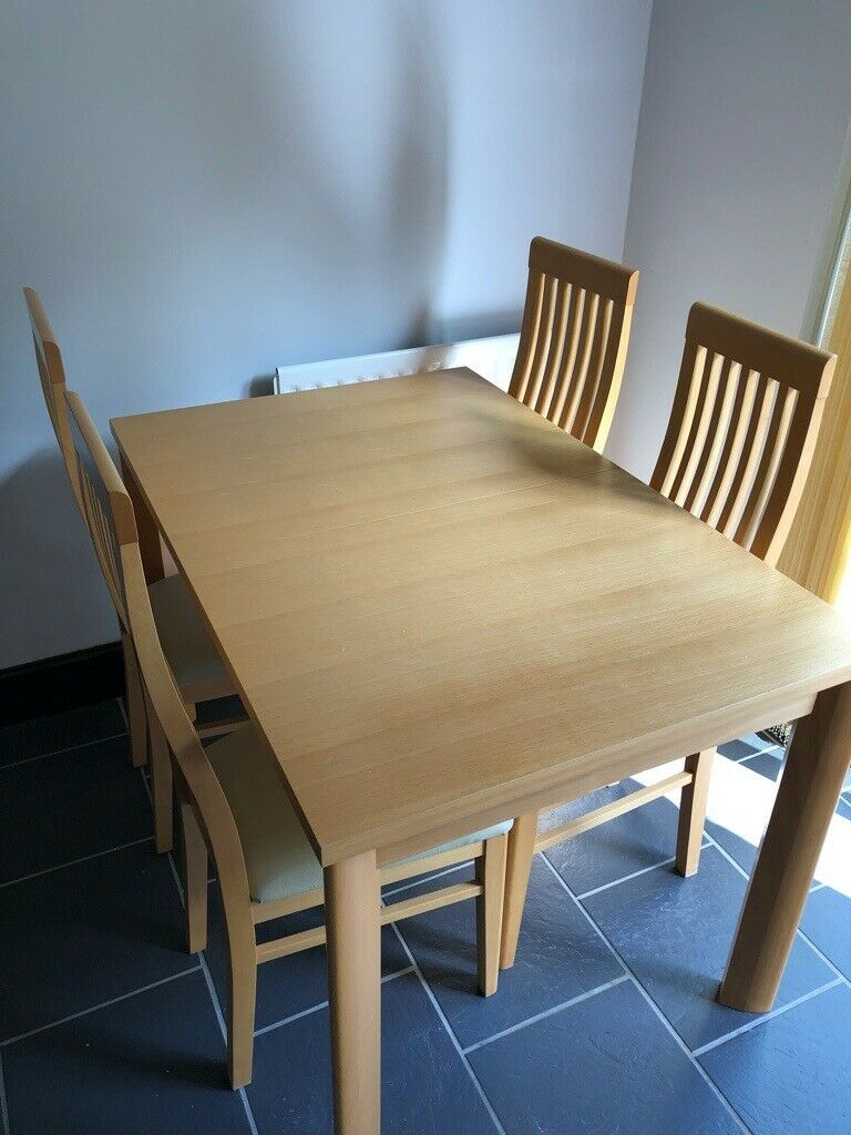 Extendable light wood Kitchen Table and 4 chairs.   in ...