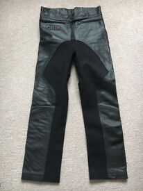 Woman's motor bike trousers, leather/fabric. Size 12.
