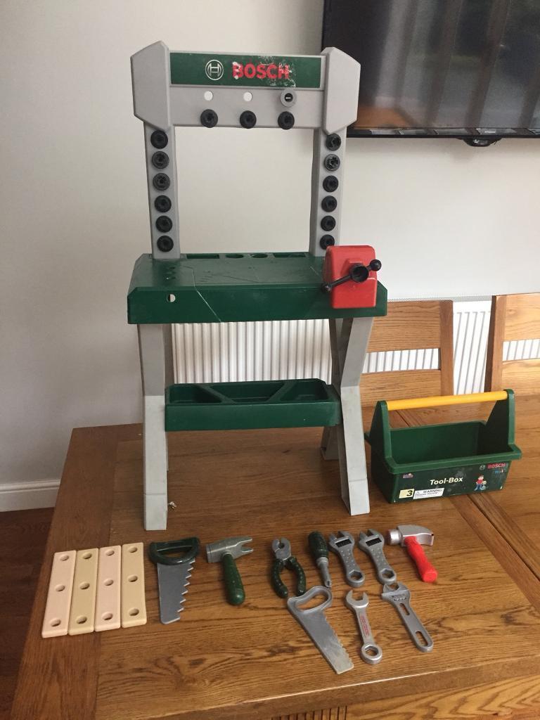 Construction Toys (Wader cement mixer, wheelbarrow and Bosch tool bench)