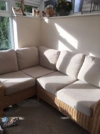 Wicker corner sofa and chair