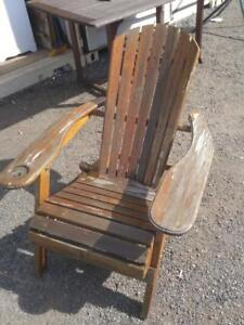 OAKVILLE Muskoka Chair Woods folds up Rustic Wood Solid low Weathered Distressed Country Farmhouse Cottage Decor Rough