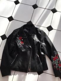 Black embroidered Biker jacket(Size18)