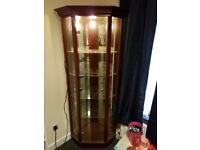 Large mahoghany with glass display cabinet unit