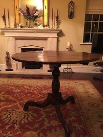 Antique Round Oak Georgian Tilt Top Tripod Table. Rare 3 board top. Metal catch